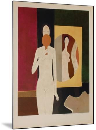 Femme au miroir-Andr? Minaux-Mounted Premium Edition
