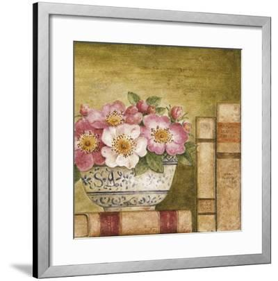 Potted Flowers with Books IV-Eric Barjot-Framed Art Print