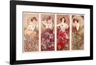 8b629379116 Precious Stones and Flowers-Alphonse Mucha-Framed Giclee Print