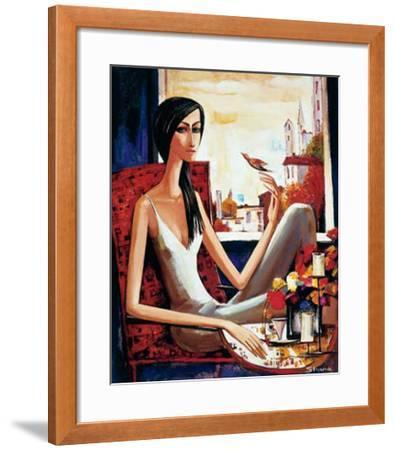 Girl and Bird-Shana-Framed Art Print