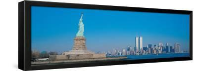 Statue of Liberty and Manhattan--Framed Premium Giclee Print