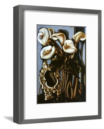 Still Life with Arum Lilies and Mirror, c.1935-Tamara de Lempicka-Framed Art Print