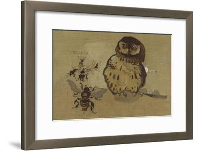 Owl And Bee-Joseph Crawhall-Framed Premium Giclee Print