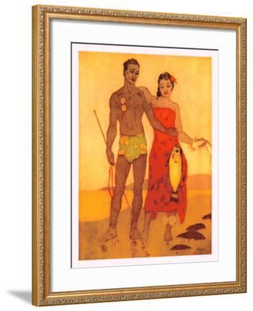 Fisherman of Hawaii-John Kelly-Framed Giclee Print