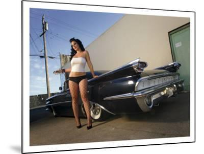 50's Pin-Up Girl-David Perry-Mounted Giclee Print