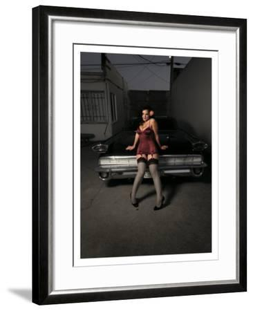 50's Pin-Up Girl-David Perry-Framed Giclee Print