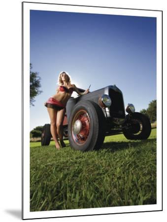Hot Rod Pin-Up Girl-David Perry-Mounted Giclee Print