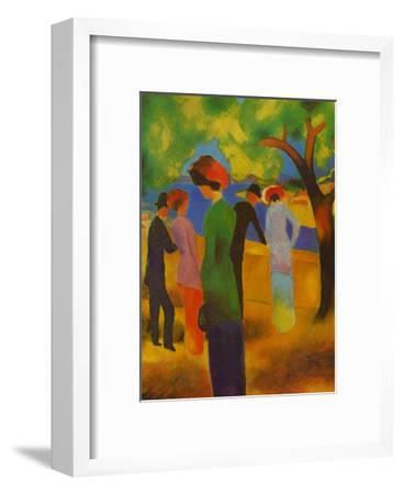 Dame in Gruner, Jacke Park-Auguste Macke-Framed Art Print