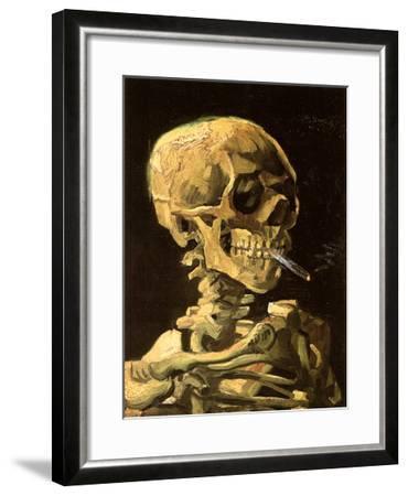 Skull with Burning Cigarette-Vincent van Gogh-Framed Art Print