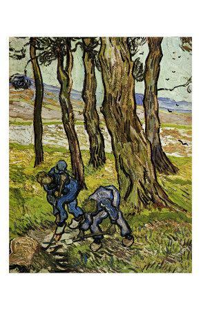 Two Diggers among Trees-Vincent van Gogh-Framed Art Print
