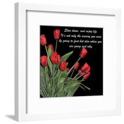 Night Time Tulips-Anne Courtland-Framed Art Print