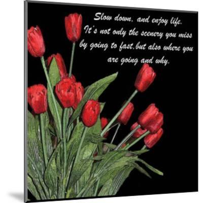 Night Time Tulips-Anne Courtland-Mounted Art Print