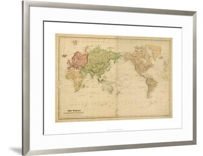 The World on Mercator's Projection--Framed Premium Giclee Print