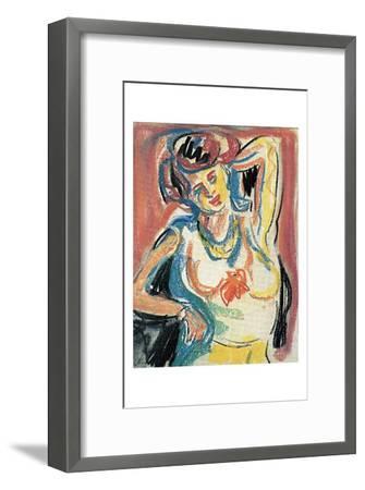 Girl Streching-Ernst Ludwig Kirchner-Framed Art Print