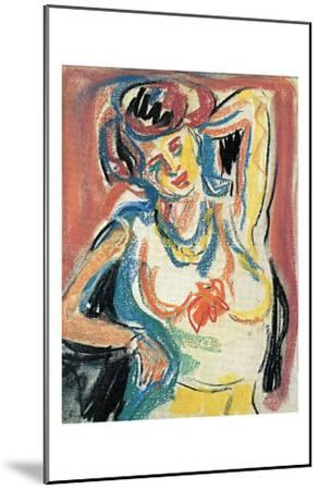 Girl Streching-Ernst Ludwig Kirchner-Mounted Art Print