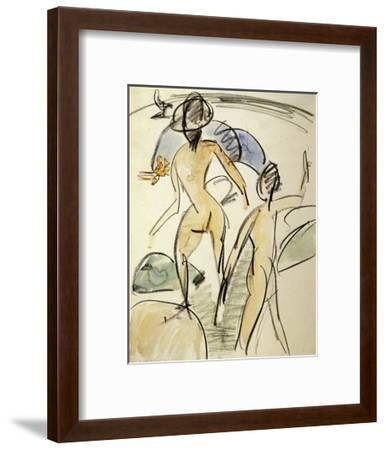 Bather with Hat-Ernst Ludwig Kirchner-Framed Art Print