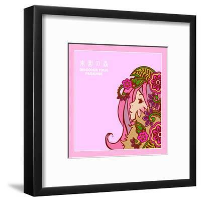 Asian Beauty with Flowers-Noriko Sakura-Framed Art Print