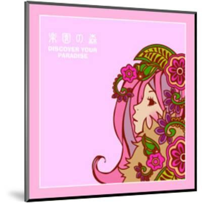 Asian Beauty with Flowers-Noriko Sakura-Mounted Art Print