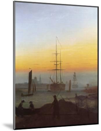 Ships in Greifswald Harbor-Caspar David Friedrich-Mounted Giclee Print