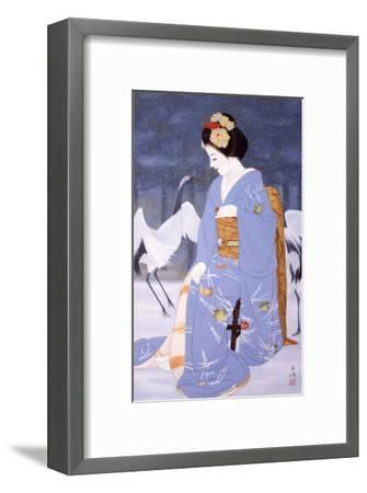 Maiko with Snow in Spring-Goyo Otake-Framed Giclee Print