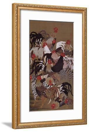 Japanese Rooster with Sunflower in Summer-Jyakuchu Ito-Framed Giclee Print