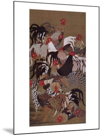 Japanese Rooster with Sunflower in Summer-Jyakuchu Ito-Mounted Giclee Print