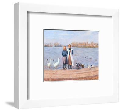 Feeding the Ducks-Paula Nightingale-Framed Art Print