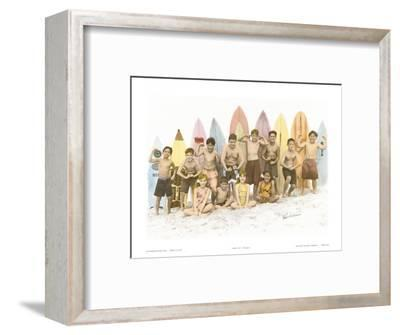 Surf's Up!, Hand Colored Photo of Hawaiian Children-Himani-Framed Art Print