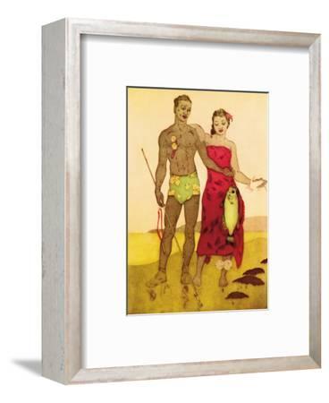 Fisherman, Royal Hawaiian Hotel Menu Cover c.1950s-John Kelly-Framed Art Print