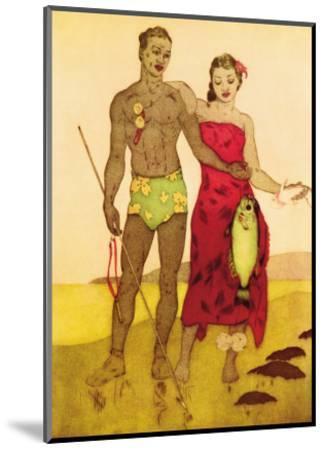 Fisherman, Royal Hawaiian Hotel Menu Cover c.1950s-John Kelly-Mounted Art Print