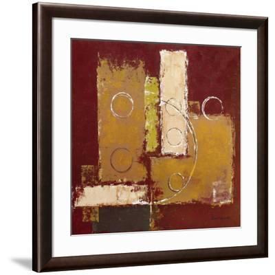 Circles on Red and Brown I-David Sedalia-Framed Art Print