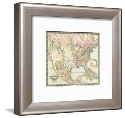 Map of The United States of America, c.1848-J^ H^ Colton-Framed Art Print