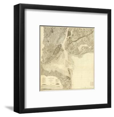 Map of New York Bay and Harbor and The Environs, c.1844--Framed Art Print