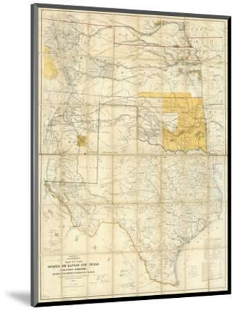 Map of The States of Kansas and Texas and Indian Territory, c.1867--Mounted Art Print