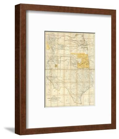 Map of The States of Kansas and Texas and Indian Territory, c.1867--Framed Art Print