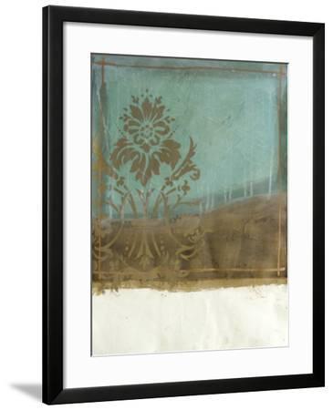 Teal and Bronze Abstract II-Jennifer Goldberger-Framed Art Print