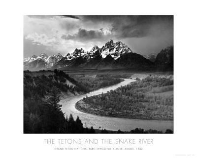 Tetons and The Snake River, Grand Teton National Park, c.1942-Ansel Adams-Art Print