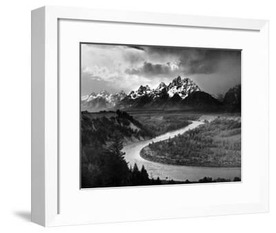Tetons and The Snake River, Grand Teton National Park, c.1942-Ansel Adams-Framed Art Print
