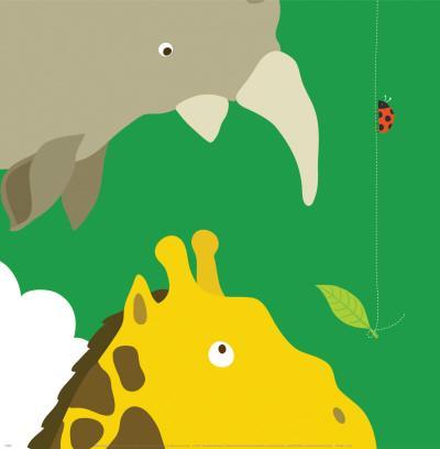 Safari Group: Giraffe and Rhino-Yuko Lau-Art Print