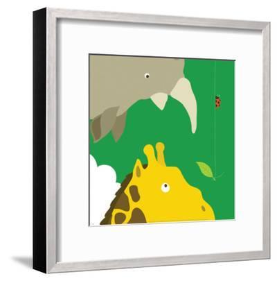 Safari Group: Giraffe and Rhino-Yuko Lau-Framed Art Print