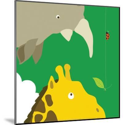 Safari Group: Giraffe and Rhino-Yuko Lau-Mounted Art Print