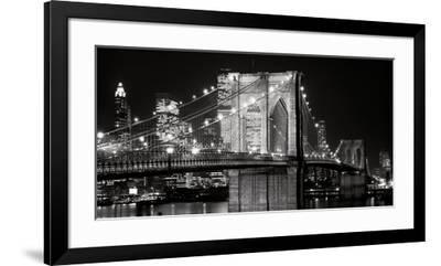Brooklyn Bridge at Night-Jet Lowe-Framed Art Print