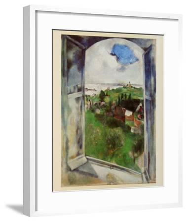Window with View on the Island Bréhat, c.1924-Marc Chagall-Framed Art Print