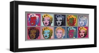 Ten Marilyns, c.1967-Andy Warhol-Framed Giclee Print