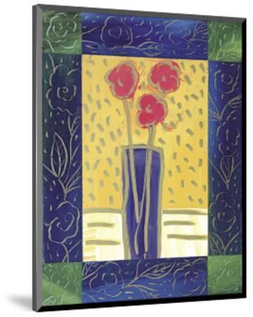 Pink Flowers on Yellow-Hussey-Mounted Giclee Print