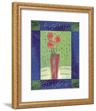 Orange Flowers on Green-Hussey-Framed Giclee Print