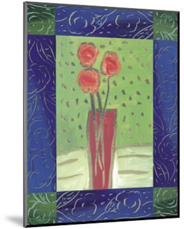 Orange Flowers on Green-Hussey-Mounted Giclee Print