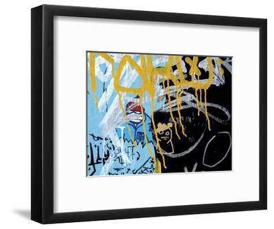 Yellow Aqua Graffiti II-Jenny Kraft-Framed Giclee Print