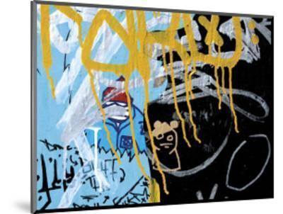 Yellow Aqua Graffiti II-Jenny Kraft-Mounted Giclee Print