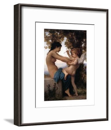 Girl Defending Herself Against Love-William Adolphe Bouguereau-Framed Art Print